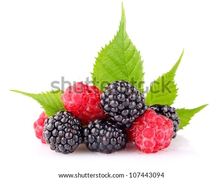 raspberry and blackberry with green leaf isolated on white background - stock photo