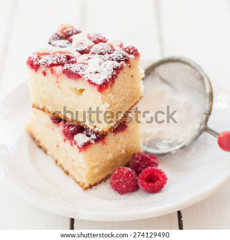 Raspberry and Yogurt Cake Dusted with Icing Sugar, square