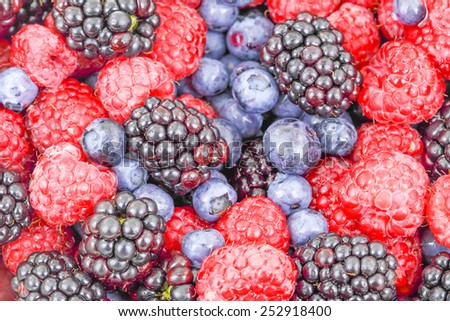 Raspberry, blackberry and blueberry use for background - stock photo