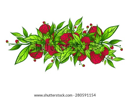 Raspberry Border Design With Green Leaves Over White Background - stock photo
