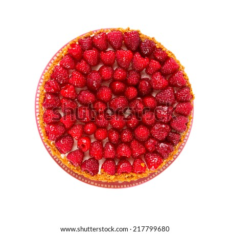 raspberry cheese cake - stock photo