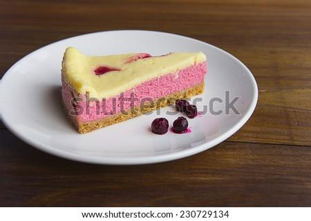 Raspberry cheese cake - stock photo