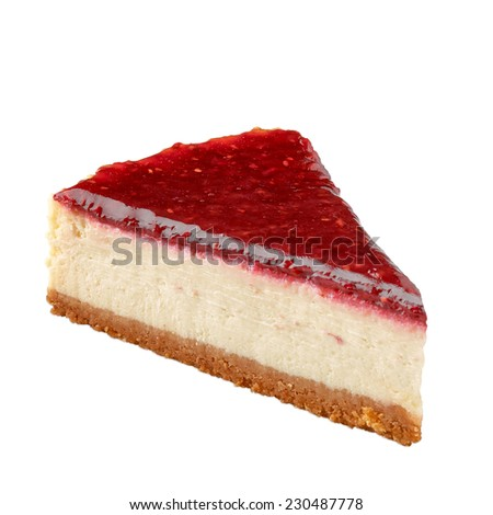 Raspberry cheesecake with plate on white background - stock photo