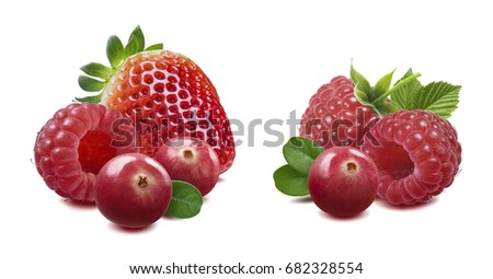 Raspberry cranberry strawberry isolated on white background 3