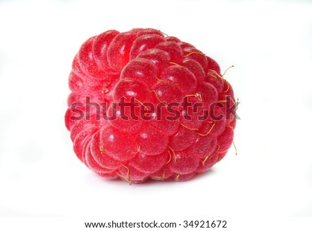 Raspberry. Deep field of focus. Isolated over white background