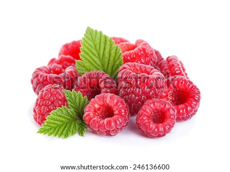 Raspberry fruit closeup with leaf isolated on white - stock photo