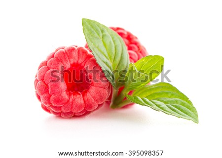 Raspberry fruit isolated over white background