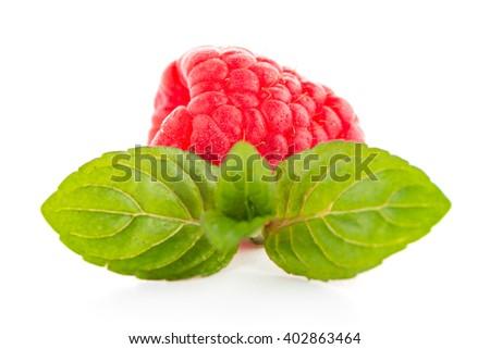 Raspberry fruit isolated over white background - stock photo