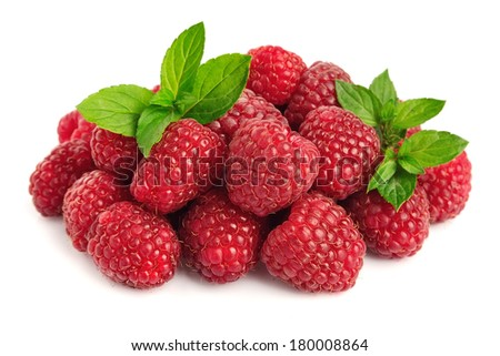 raspberry fruits with leafs on white background - stock photo
