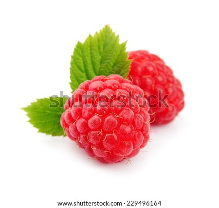 Raspberry fruits with leafs on white background