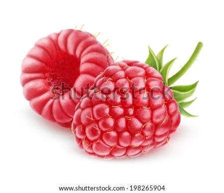 Raspberry isolated on white - stock photo