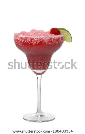 Raspberry margarita with lime cutout, isolated on white background