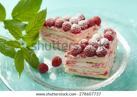 Raspberry pastry with raspberry cream and millefeulle pastry