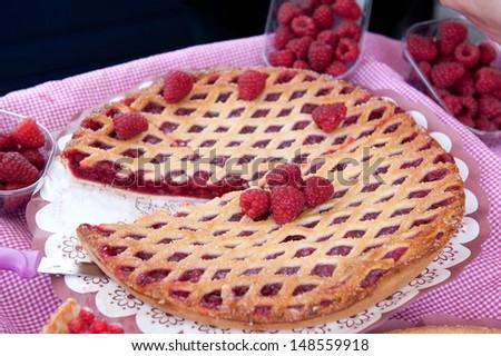 Raspberry pie - stock photo