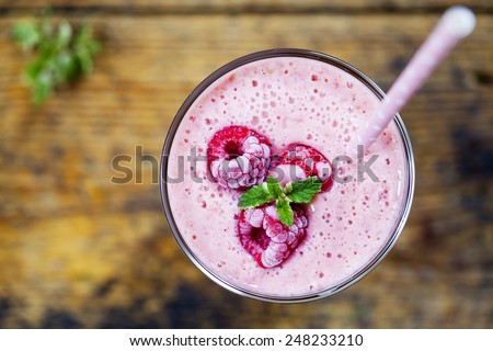 Raspberry smoothie - stock photo