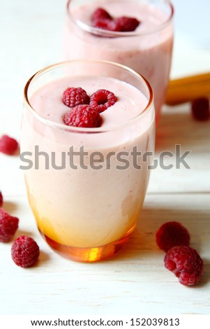 Raspberry smoothie in a glass, beverage