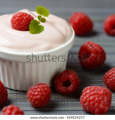 Raspberry soy yogurt