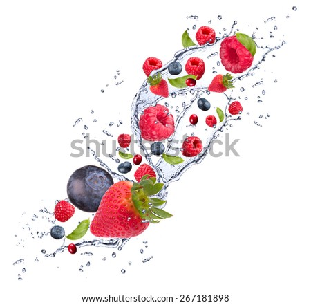 Raspberry, strawberry and blueberry with watter splash isolated on white background