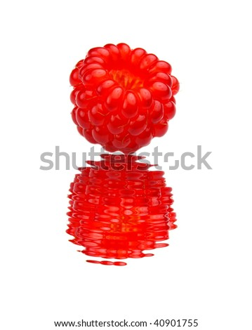 Raspberry water reflection - stock photo