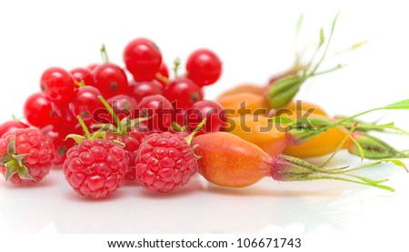 raspberry, wild rose berries and red currant close-up on a white background