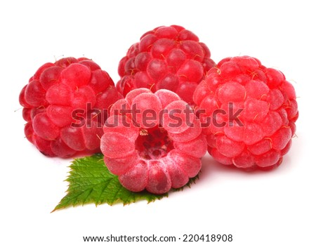 Raspberry with leaves isolated on white - stock photo