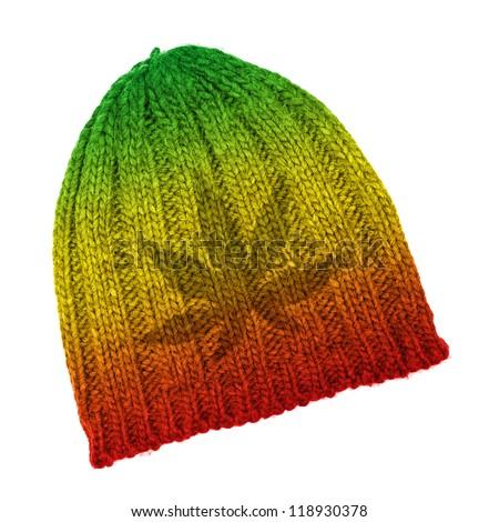 Rasta beanie with marijuana leaf isolated on white background - stock photo