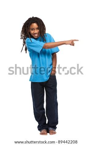rasta boy isolated on white - stock photo