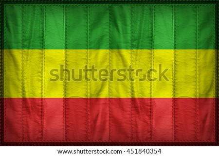 Rasta flag pattern on synthetic leather texture, 3d illustration style