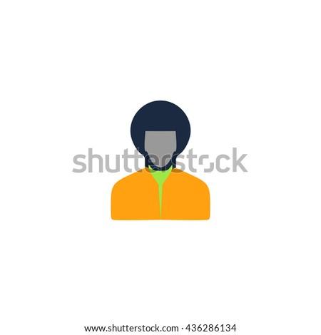 Rastafarian man. Color simple flat icon on white background - stock photo