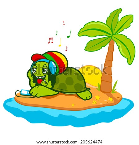 Rastafarian sea turtle. A happy sea turtle with dreadlocks relaxing while listening to music in a beautiful island. Vector version also available in my gallery. - stock photo