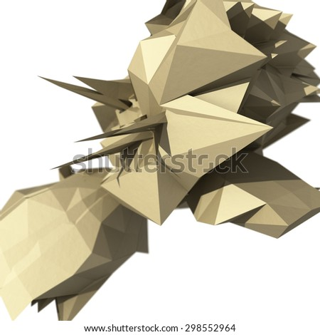 Raster abstract illustration with spiked chaotic object. 3d render. - stock photo