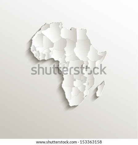 raster Africa political map natural paper 3D craked individual states - stock photo