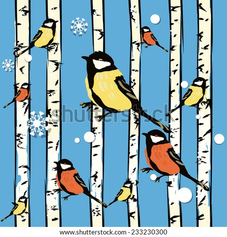 Raster background (seamless pattern) with bird on the trees. Winter wrapping paper background for Christmas gifts.can be used for wallpaper, pattern fills, web page background, surface textures. - stock photo