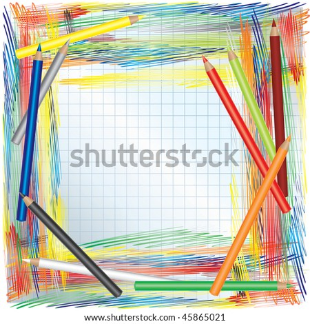 RASTER background with Color pencils and paper - stock photo