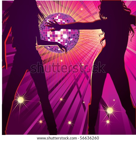 RASTER background with two girls dancing in night-club, disco-ball and glitters - stock photo