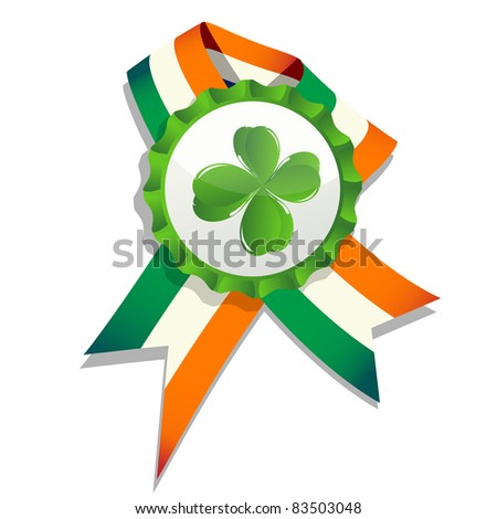 Raster. Beer cap with clover leaf and flag of Ireland. Decorative badge for Saint Patrick's Day. Isolated and grouped objects over white, no mesh or transparencies used. - stock photo