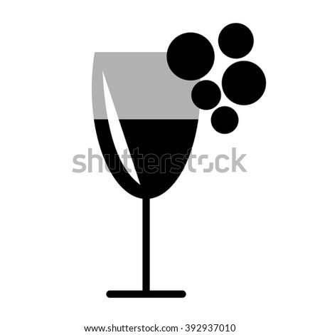 Raster black and white illustration of wineglass and grape, isolated on the white background. Series of Food and Drink Object, Icons and Illustrations. - stock photo