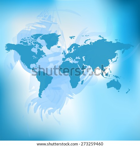 Raster Blurred World Map background.  - stock photo