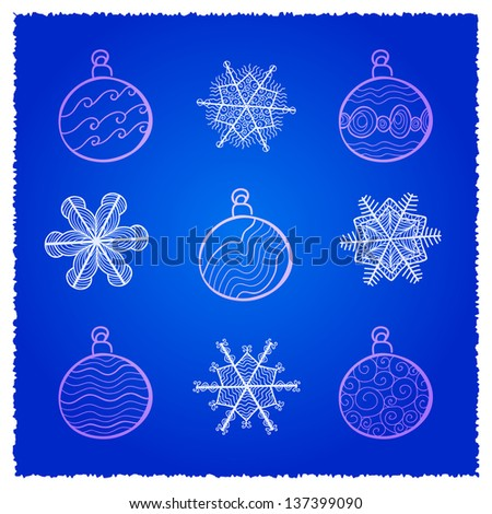 Raster card with Christmas fir tree decorations. Blue variant - stock photo