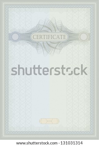 raster Certificate guilloche blue green vertical A4 - stock photo