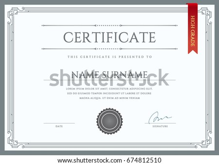 diploma certificate premium design template vector stock vector  raster certificate or diploma template ready for print or use it on the internet