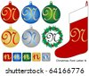 Raster Christmas Font Letter N - stock photo