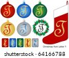 Raster Christmas Font Letter T - stock photo