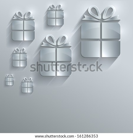 raster Christmas gift glass card paper 3D