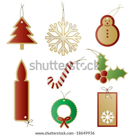 Raster - Christmas gift tags or labels for presents.