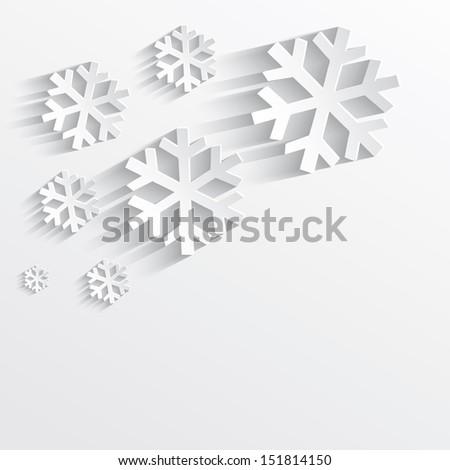 raster christmas snowflake white paper 3D - stock photo