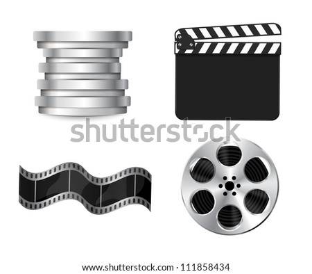 Raster cinema icons: film reel, stack of reels, film strip and clapboard - stock photo