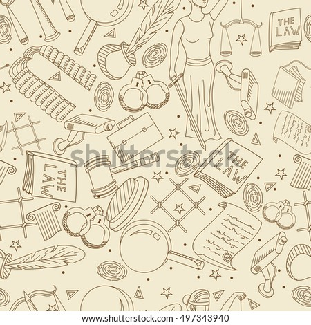 Raster collection or set of law and justice icons sign symbol pictogram in flat style with a Judge book hammer handcuffs scales hat seamless retro