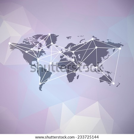 Raster communication, global network background with world map on polygonal background - stock photo