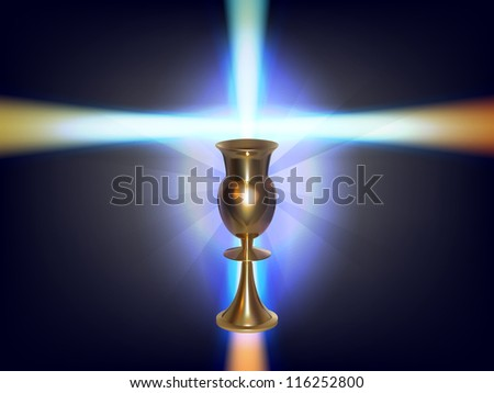 raster concept glowing cross with golden goblet, vector version available